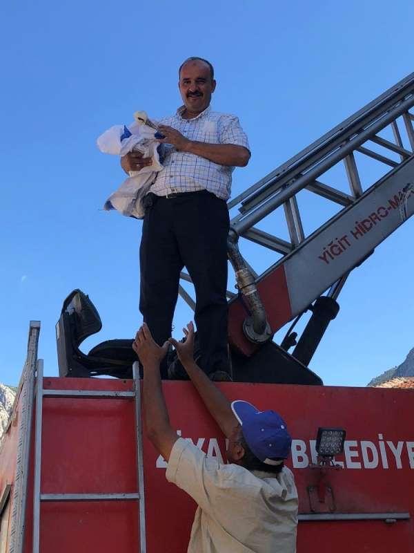 Caminin alemine takılan leyleği itfaiye ekipleri kurtardı