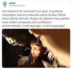 HDP'nin Van depremine ilişkin provokatif paylaşımına İçişleri Bakanlığından toka