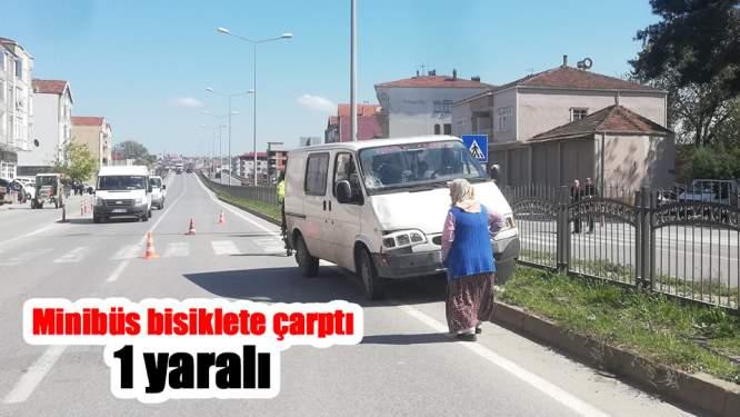 Samsun'daki trafik kazasında minibüs bisiklete çarptı