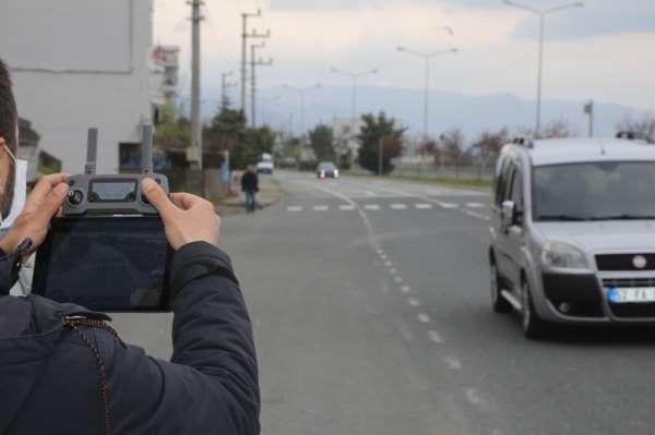 Sokağa çıkma yasağı olan vatandaşlar 'drone' ile denetlendi