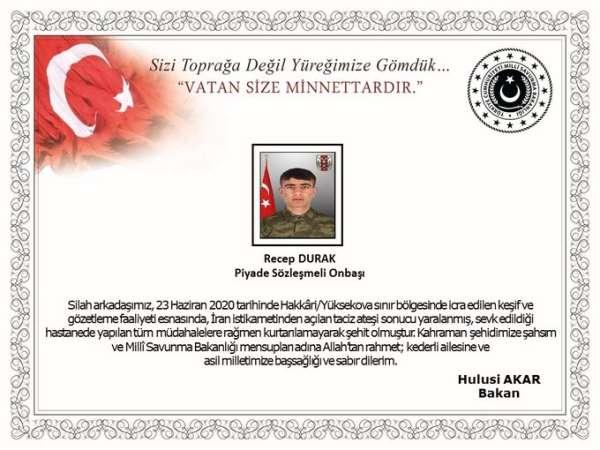 MSB: '23 Haziran 2020 tarihinde Hakkâri/Yüksekova sınır bölgesinde icra edilen k