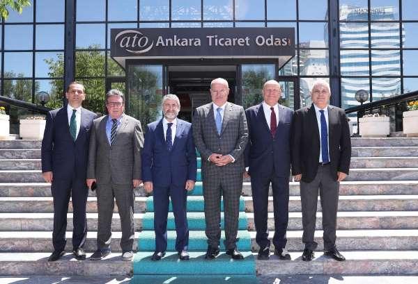ATO Başkanı Baran, Hazine ve Maliye Bakan Yardımcısı Nureddin Nebatiyi konuk etti
