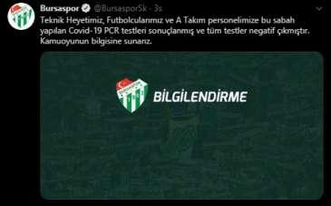 Bursaspor'un test sonuçları negatif