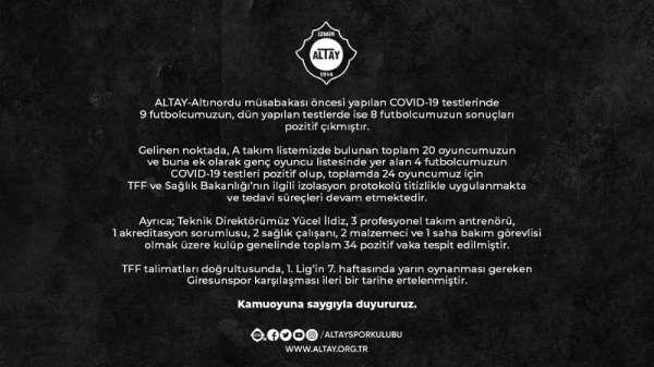 Altay'da pozitif vaka sayısı 34'e çıktı