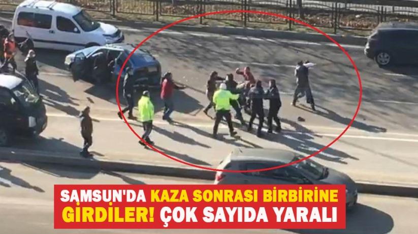 Samsun'da kaza sonrası birbirine girdiler! Çok sayıda yaralı