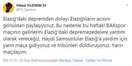 Samsunspor maçının geliri depremzedelere