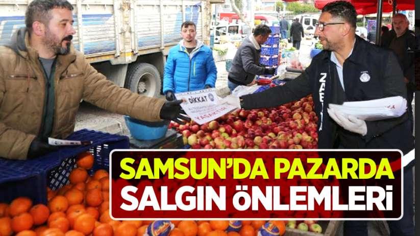 Samsun'da pazarda salgın önlemleri