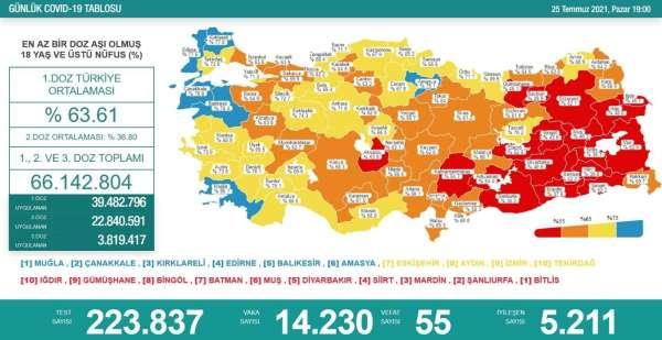 Amasya aşı haritasında Mavi renkte