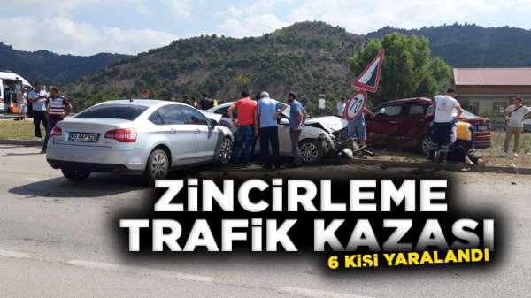 Samsun'dan Merzifon'a giderken zincirleme kaza 6 yaralı