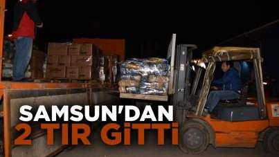 Samsun'dan deprem bölgesine 2 tır yardım gitti