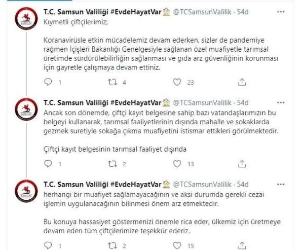 Samsun Valiliği: 'Çiftçi kayıt belgesine sahip vatandaşlar sokağa çıkma muafiyetini istismar ediyor'