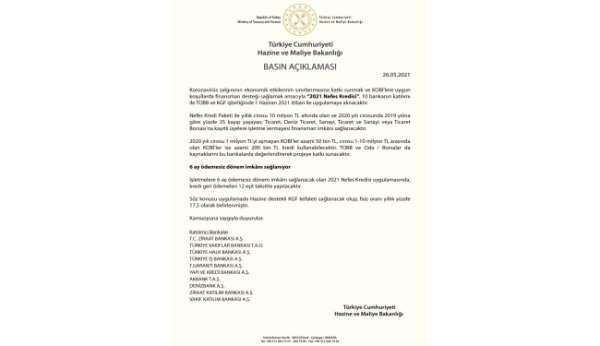 2021Nefes Kredisi 1 Haziran tarihi itibarı ile uygulamaya alınacak