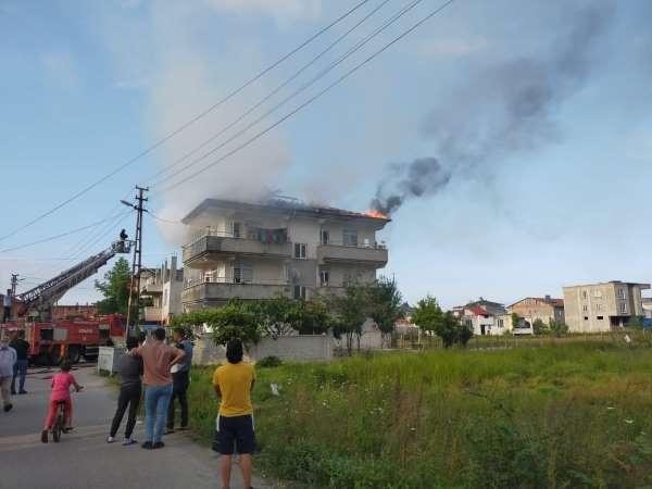 Samsunda çatı yangını