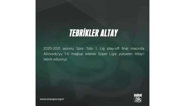 Sivasspordan Altaya hoş geldin mesajı