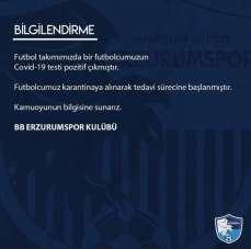 BB Erzurumspor'da bir futbolcunun daha koronavirüs testi pozitif çıktı