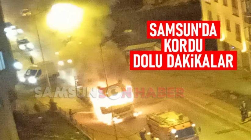 Samsun'da kamyon alev alev yandı