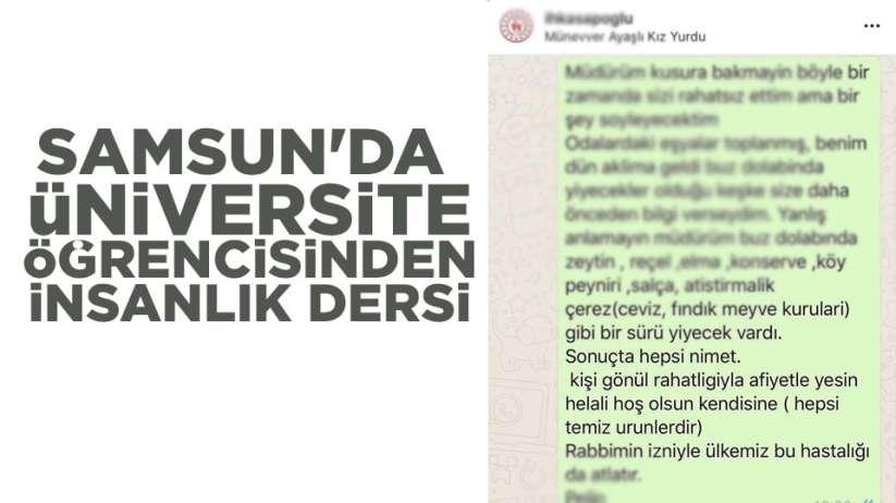 Samsun'da üniversite öğrencisinden insanlık dersi