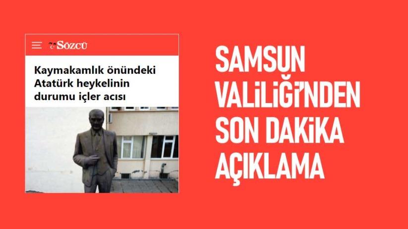 Samsun Valiliğinden Atatürk Heykeliyle ilgili son dakika açıklama