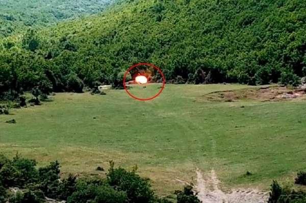 Çobanın bulduğu 60 yıllık patlamamış top mermisi böyle imha edildi
