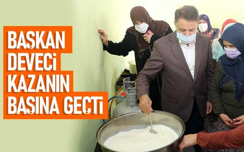 Başkan Cemil Deveci, kazanda süt karıştırdı