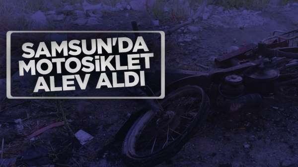 Samsun'da motosiklet alev aldı