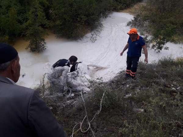 Kireç kuyusuna düşen vatandaş ve büyükbaş hayvan kurtarıldı