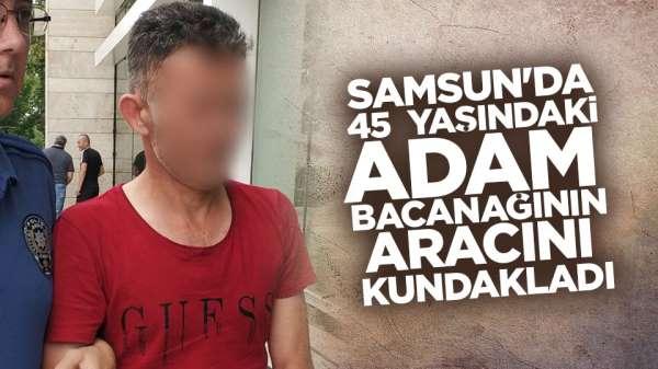 Samsun'da 45 yaşındaki adam bacanağının aracını kundakladı