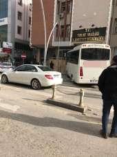 Tokat Emniyet Müdürlüğü önünde korkutan kaza