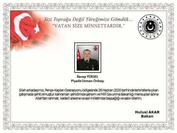 MSB:'Pençe-Kaplan Operasyonu bölgesinde, 28 Haziran 2020 tarihinde teröristlerle