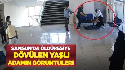 Samsun'da öldüresiye dövülen yaşlı adamın görüntüleri