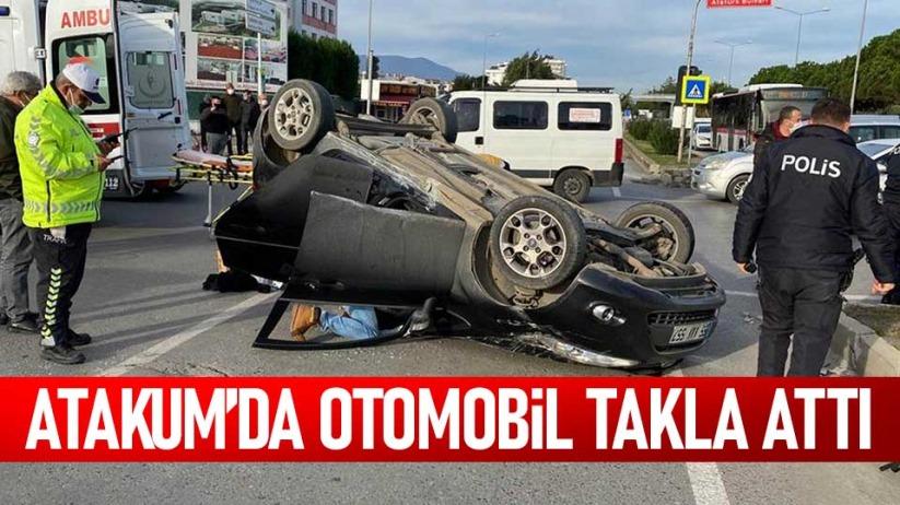 Atakum'da otomobil takla attı