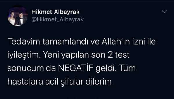 Abdurrahim Albayrak'ın oğlu iyileştiğini açıkladı