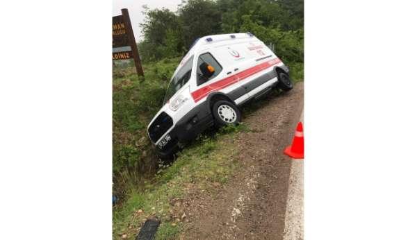 Kontrolden çıkan ambulans kaza yaptı