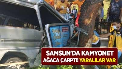 Samsun'da kamyonet ağaca çarptı! Yaralılar var