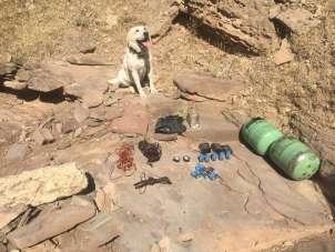 Siirt'te PKK'lı teröristlere ait EYP yapımında kullanılan malzemeler ele geçiril
