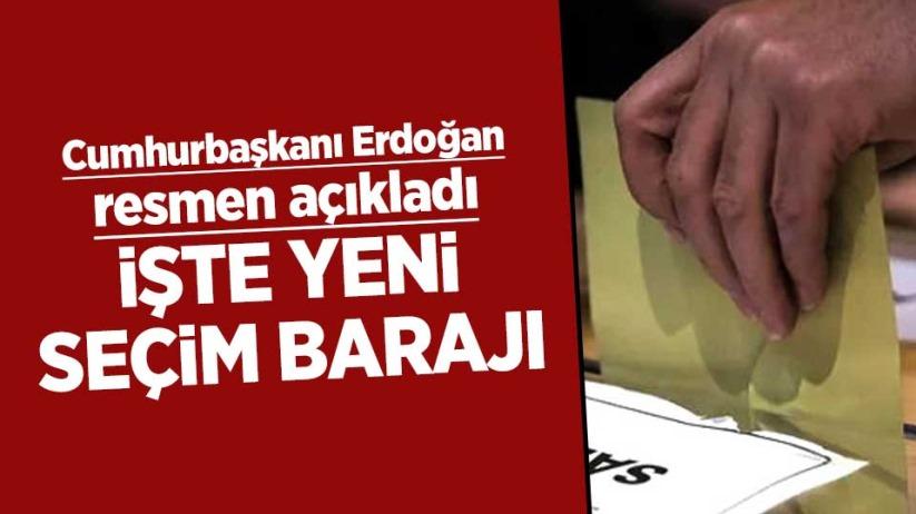 Cumhurbaşkanı Erdoğan resmen açıkladı; İşte yeni seçim barajı