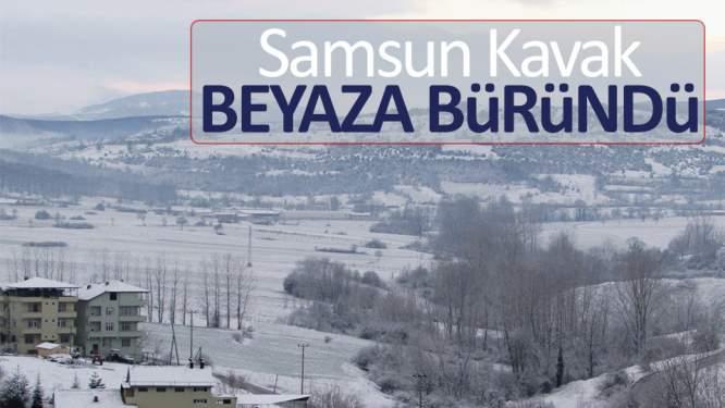 Samsun Kavak'ta kar yağışı