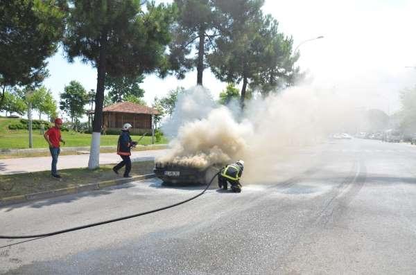Ordu'da otomobil yangını