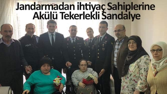 Jandarmadan ihtiyaç sahiplerine akülü tekerlekli sandalye