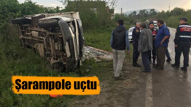 Samsun'da kamyonet şarampole devrildi: 1 yaralı