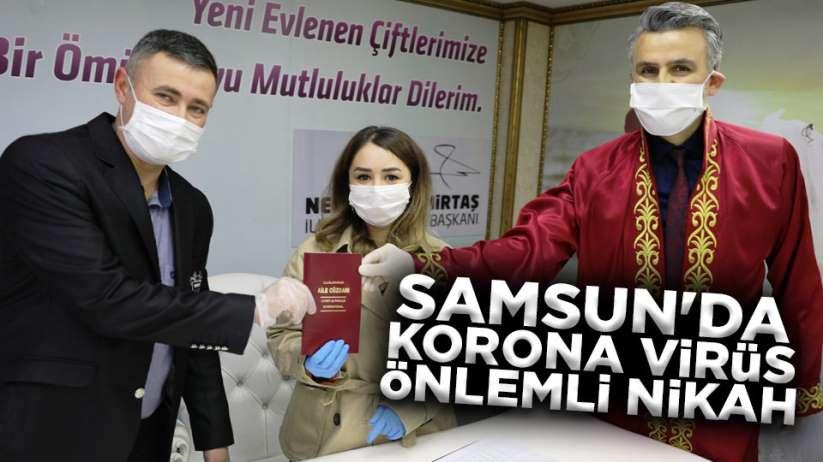 Samsun'da korona virüs önlemli nikah