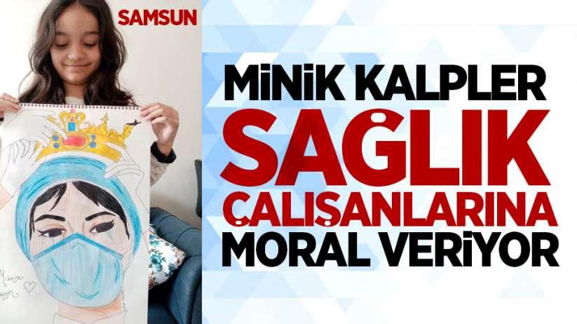 Samsun'da minik kalpler, sağlık çalışanlarına moral veriyor