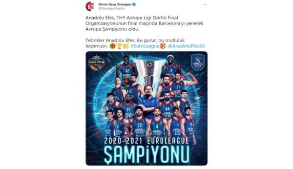 Sivasspordan Anadolu Efese tebrik mesajı: Bu gurur hepimizin