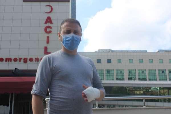 Acemi kasap elini sokan arıyı bıçakla uzaklaştırmak isterken hastanelik oldu