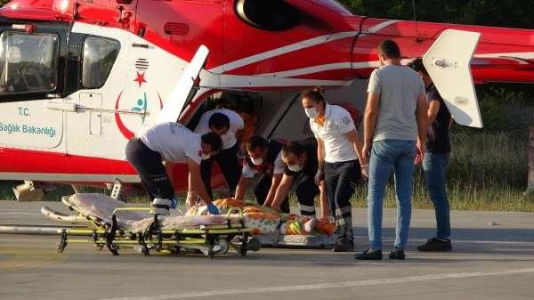 Böbrek hastası kadın ambulans helikopterle hastaneye sevk edildi