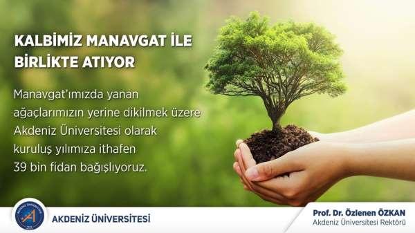 Akdeniz Üniversitesinden Manavgata 39 bin fidan bağışı