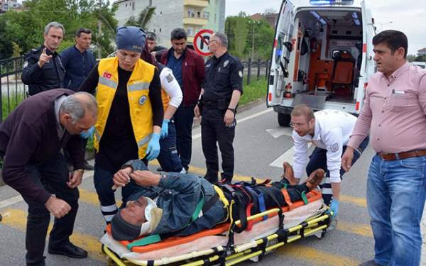 Samsun'da yaralanan sürücüye ilk müdahale emniyet müdüründen