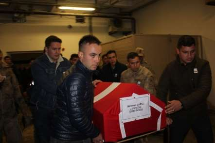 Siirt'te kazada şehit olan asker için tören