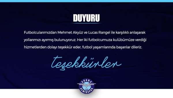 Adana Demirsporda, Mehmet Akyüz ve Lucas Rangel ile yollar ayrıldı