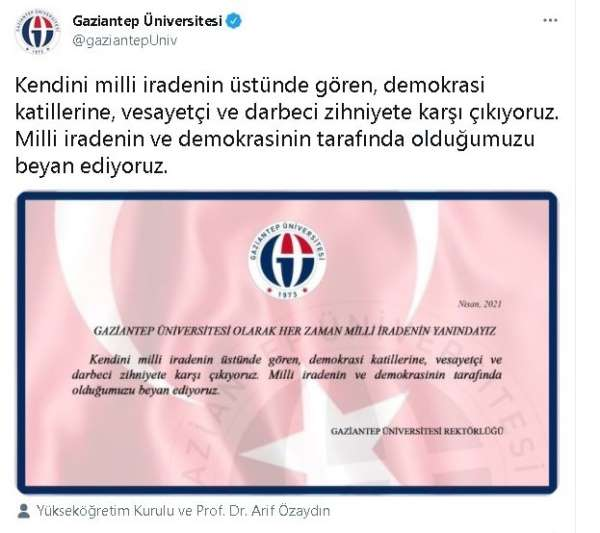 Gaziantepteki üniversitelerden 104 amirale bildiri tepkisi